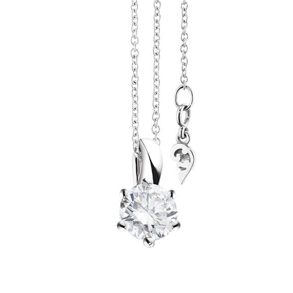 """Collier """"Diamante in Amore"""" 750WG 6-er Krappe, Schlaufe, 1 Diamant Brillant-Schliff 0.70ct TW/vs1 GIA Zertifikat, Länge 45.0 cm, Zwischenöse bei 42.0 cm"""