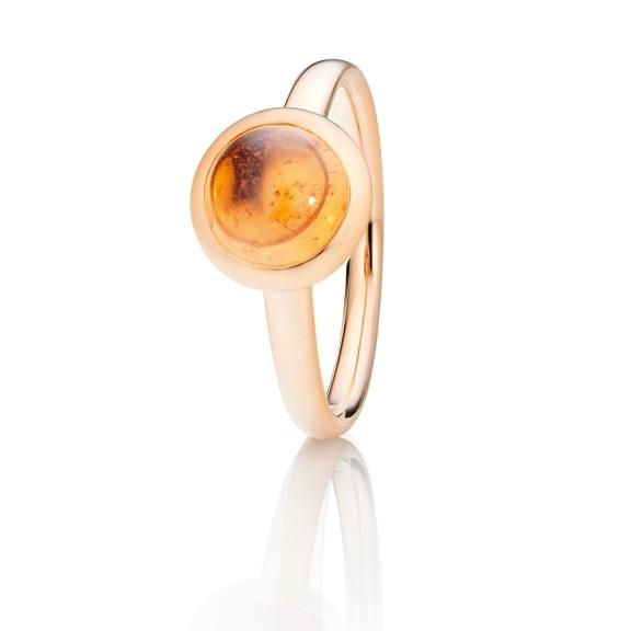 """Ring """"Velluto"""" 750RG, Granat Mandarin Cabochon Ø 8.0 mm ca. 3.0ct"""