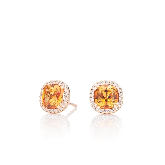 "Ohrstecker ""Espressivo"" 750RG, Granat Mandarin antik 6.0 x 6.0 mm ca. 2.40ct, 48 Diamanten Brillant-Schliff 0.18ct TW/si"