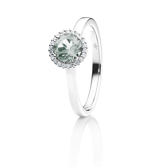 "Ring ""Espressivo"" 750WG, Bergkristall facettiert Ø 6.0 mm, 22 Diamanten Brillant-Schliff 0.06ct TW/si"