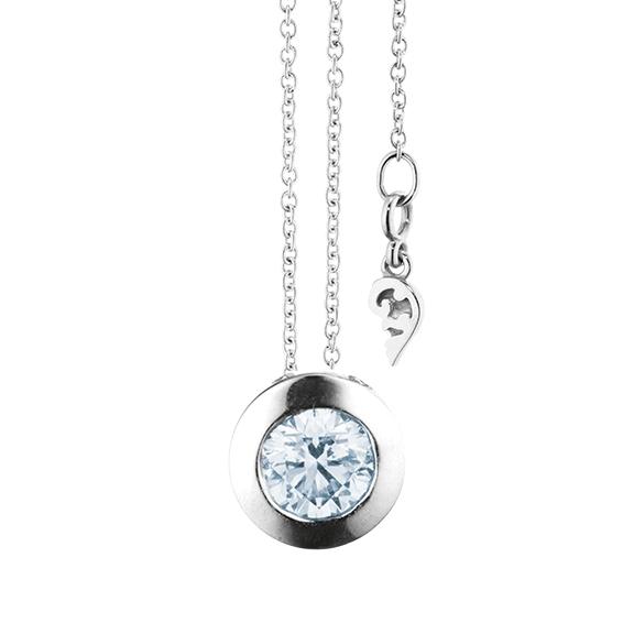 """Collier """"Diamante in Amore"""" 750WG Zargenfassun, 1 Diamant Brillant-Schliff 0.70ct TW/vs1 GIA Zertifikat, Länge 45.0 cm, Zwischenöse bei 42.0 cm"""