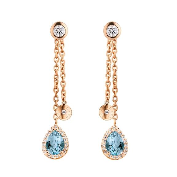 """Ohrstecker """"Espressivo Highlight Luxus"""" 750RG, 2 Topas skyblue Tropfen 7.0x5.0 ca. 1.8ct, 2 Diamanten Brillantschliff 0.20ct TW/vs1, 78 Diamanten Brillantschliff 0.20ct TW/vs1"""
