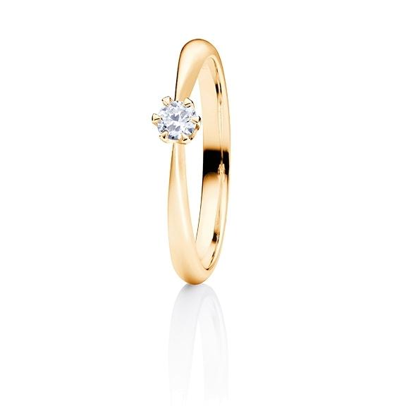 """Ring """"Classico"""" 750GG 6-er Krappe, 1 Diamant Brillant-Schliff 0.20ct TW/si"""