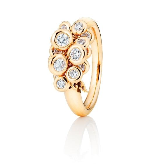 """Ring """"Prosecco"""" 750GG, 15 Diamanten Brillant-Schliff 0.75ct TW/vs1, mit beweglichen Elementen"""