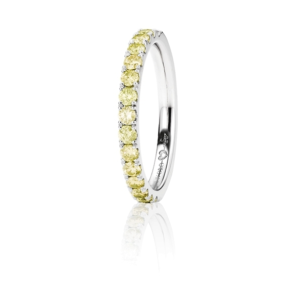 "Memoirering ""Diamante in Amore"" 750WG, 15 Diamanten Brillant-Schliff 0.62ct canary behandelt, 1 Diamant Brillant-Schliff 0.005ct TW/vs1"