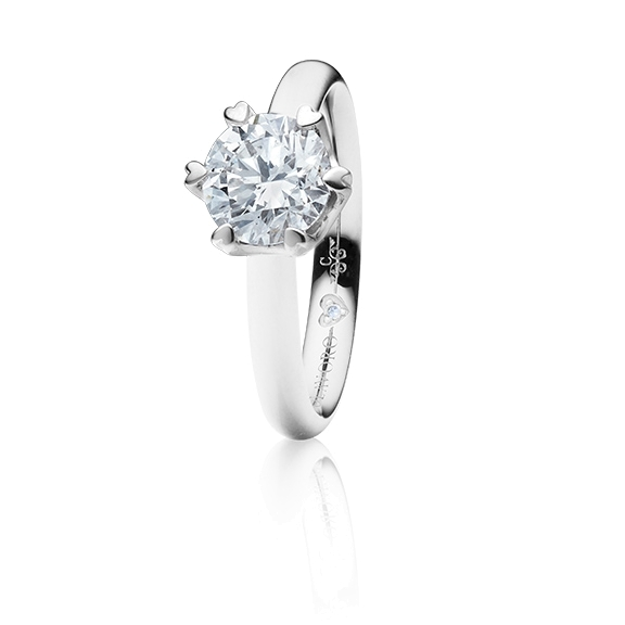 "Ring ""True Love"" 750WG 6-er Krappe mit seitl. RG-Herz, 1 Diamant Brillant-Schliff 1.00ct TW/vs1 GIA Zertifikat, 1 Diamant Brillant-Schliff 0.005ct TW/vs1"