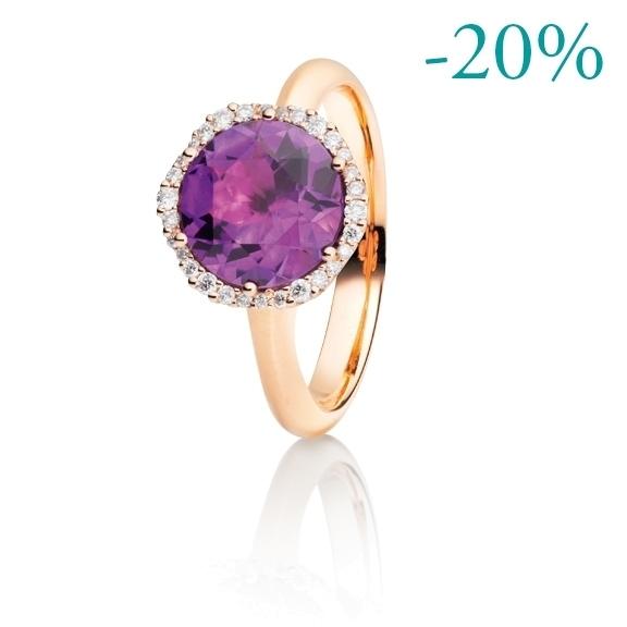 """Ring """"Dei Fiori"""" 750RG, Amethyst medium facettiert Ø 9.0 mm, 30 Diamanten Brillant-Schliff 0.14ct TW/si"""