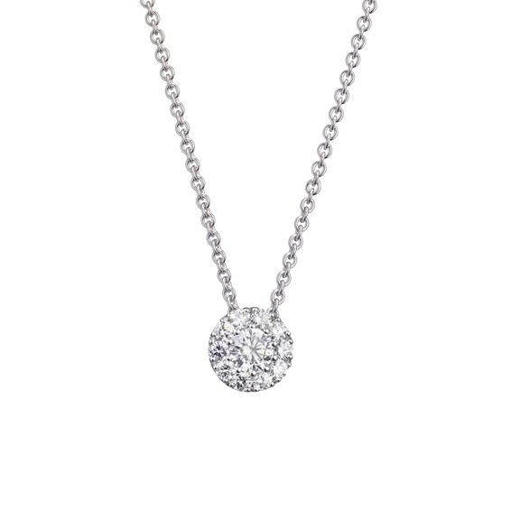 "Anhänger ""Brillantissimo 2"" 750WG, 1 Diamant Brillant-Schliff 0.10ct TW/vs, 10 Diamanten Brillant-Schliff 0.06ct TW/vs"