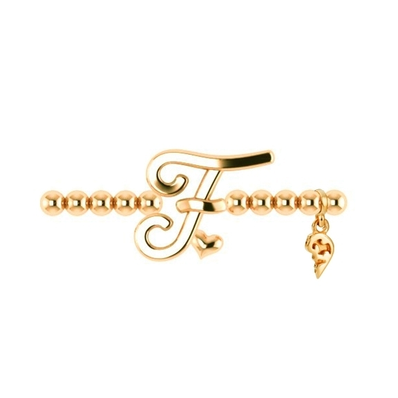 "Armband ""Poesia"" 750GG, Buchstabe ""F"", Innenumfang 17.0 cm"