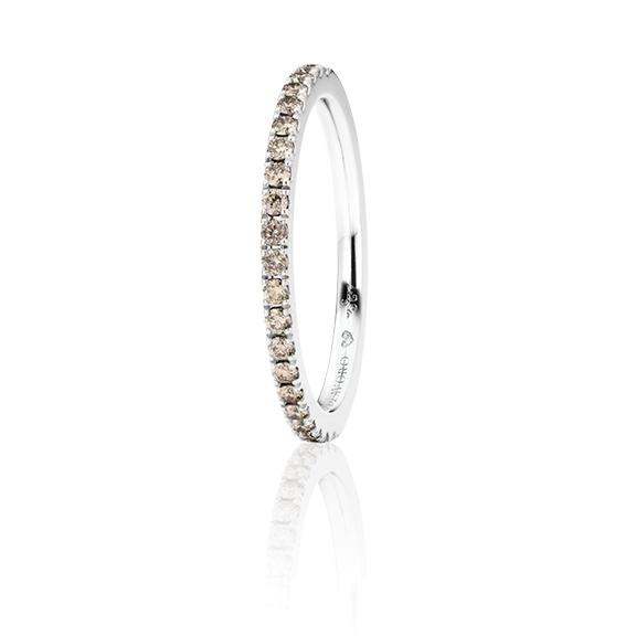 """Memoirering """"Diamante in Amore"""" 750WG, 21 Diamanten Brillant-Schliff 0.27ct brown, 1 Diamant Brillant-Schliff 0.005ct TW/vs1"""