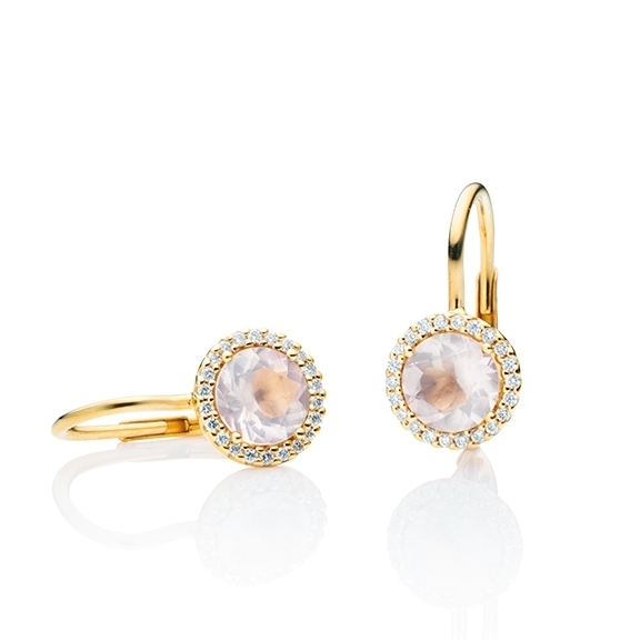 """Ohrhänger """"Espressivo"""" 750GG, Rosenquarz facettiert Ø 6.0 mm, 44 Diamanten Brillant-Schliff 0.12ct TW/si"""