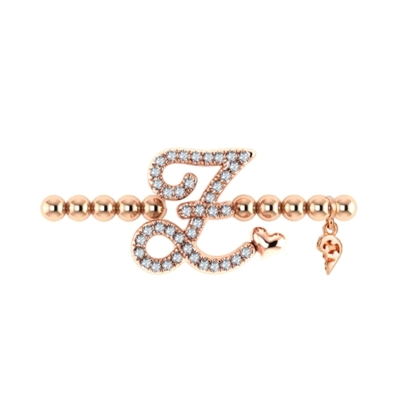 "Armband ""Poesia"" 750RG, Buchstabe ""Z"", 40 Diamanten Brillant-Schliff 0.15ct TW/vs1, Innenumfang 17.0 cm"