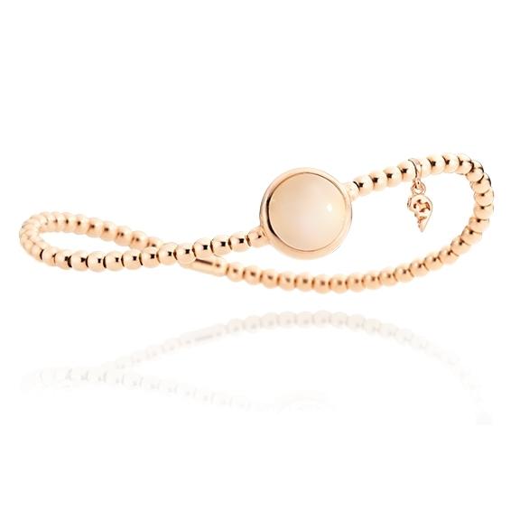 "Armband ""Velluto"" 750RG, Mondstein champagner Cabochon Ø 11.0 mm ca. 4.5ct, Innenumfang 17.0 cm"