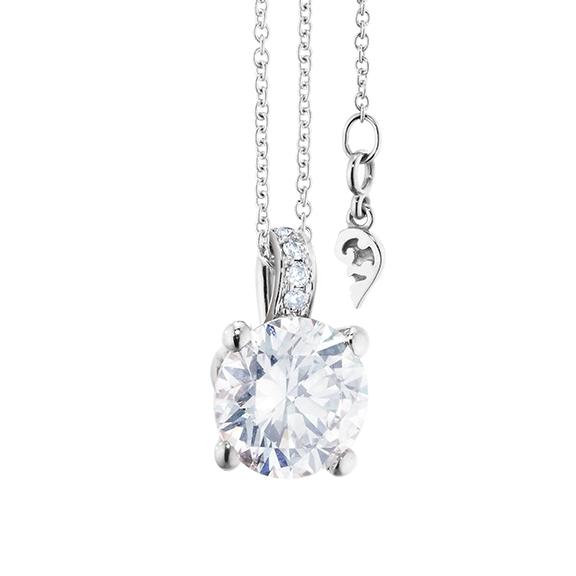 """Collier """"Diamante in Amore"""" 750WG 4-er Krappe, Brillantöse, 1 Diamant Brillant-Schliff 1.50ct TW/vs1 GIA Zertifikat, 5 Diamanten Brillant-Schliff 0.04ct TW/vs1, Länge 45.0 cm, Zwischenöse bei 42.0 cm"""