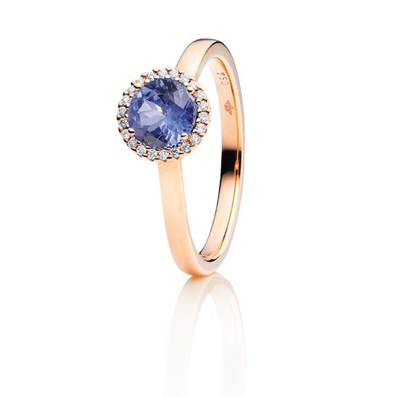 """Ring """"Espressivo"""" 750RG, Tansanit facettiert Ø 6.0 mm ca. 0.82ct, 22 Diamanten Brillant-Schliff 0.06ct TW/si1"""