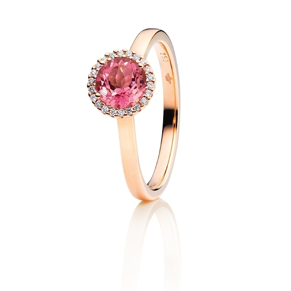 "Ring ""Espressivo"" 750RG, Turmalin pink dunkel facettiert Ø 6.0 mm ca. 0.84ct, 22 Diamanten Brillant-Schliff 0.06ct TW/si1"