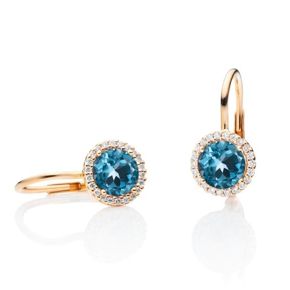 """Ohrhänger """"Espressivo"""" 750RG, Topas London blue facettiert Ø 6.0 mm, 44 Diamanten Brillant-Schliff 0.16ct TW/si"""