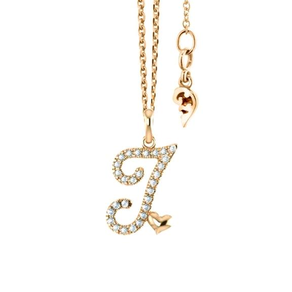 """Anhänger """"Poesia"""" 750GG, Buchstabe """"I"""", 28 Diamanten Brillant-Schliff 0.10ct TW/vs"""