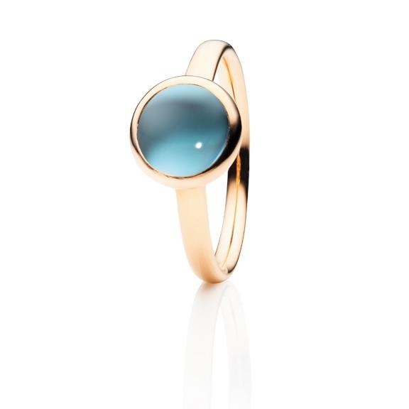 "Ring ""Velluto"" 750RG Topas sky blue Cabochon Ø 8.0 mm ca. 3.00ct"
