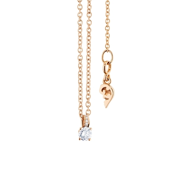 "Collier ""Diamante in Amore"" 750RG 4-er Krappe, Brillantschlaufe, 1 Diamant Brillant-Schliff 0.05ct TW/vs1, 5 Diamanten Brillant-Schliff 0.01ct TW/vs1, Länge 45.0 cm, Zwischenöse bei 42.0 cm"