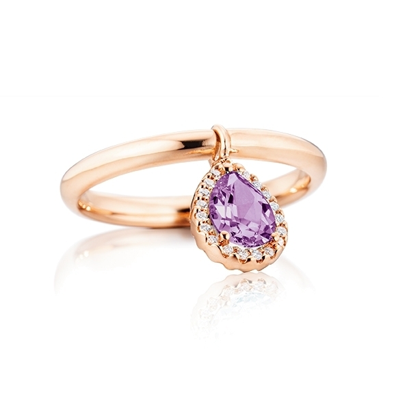 """Ring """"Espressivo"""" 750RG, Amethyst Tropfen  facettiert 7x5 mm ca. 0.50ct, 19 Diamanten Brillant-Schliff 0.05ct TW/si, mit beweglichen Element"""