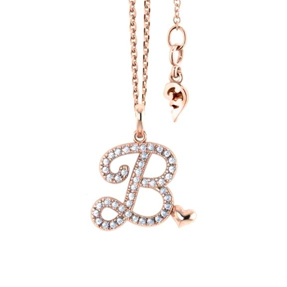 """Anhänger """"Poesia"""" 750RG, Buchstabe """"B"""", 44 Diamanten Brillant-Schliff 0.17ct TW/vs"""