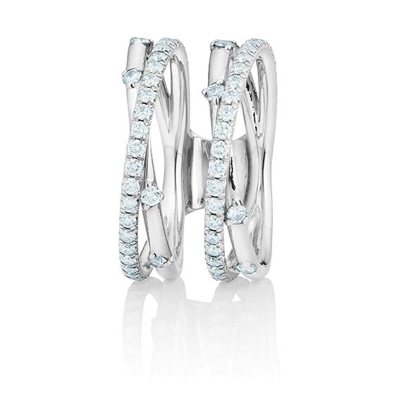 """Ring """"Jaquet"""" 750WG, 74 Diamanten Brillant-Schliff 0.39ct TW/vs1"""