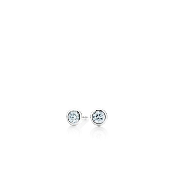 """Ohrstecker """"Classico"""" 750WG Zargenfassung, 2 Diamanten Brillant-Schliff 0.10ct TW/si"""