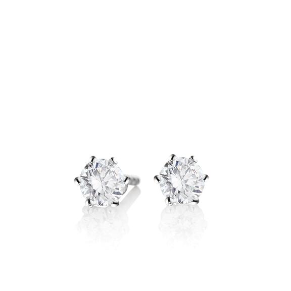 "Ohrstecker ""Diamante in Amore"" 750WG 6-er Krappe, 2 Diamanten Brillant-Schliff 0.60ct TW/vs1 GIA Zertifikat"