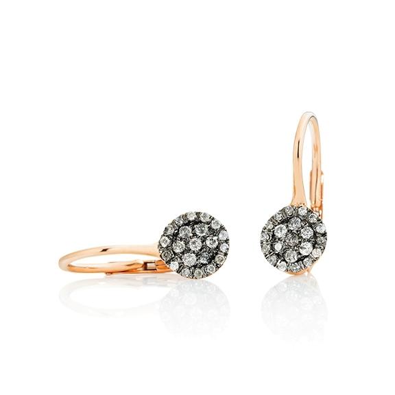 """Ohrhänger """"Dolcini"""" 750RG, 42 Diamanten Brillant-Schliff 0.20ct grau"""