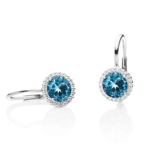 """Ohrhänger """"Espressivo"""" 750WG, Topas London blue facettiert Ø 6.0 mm, 44 Diamanten Brillant-Schliff 0.12ct TW/si"""