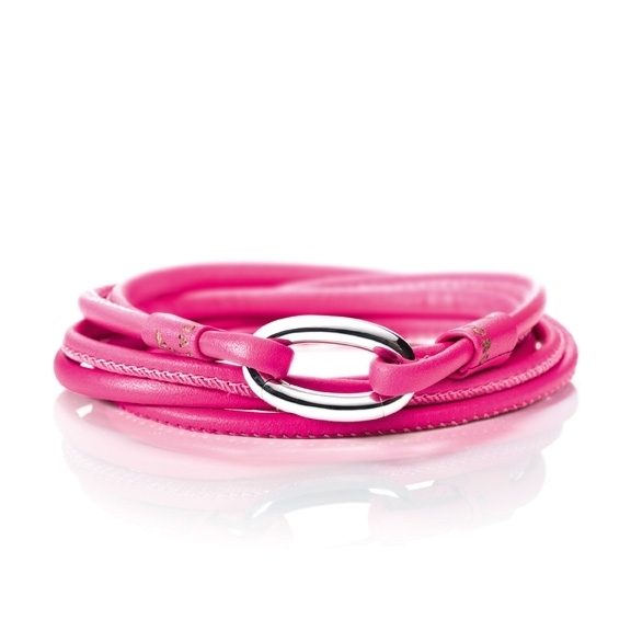 Armband Kalbsleder pink 2-reihig, Ø 3.0 mm, 56.0 cm