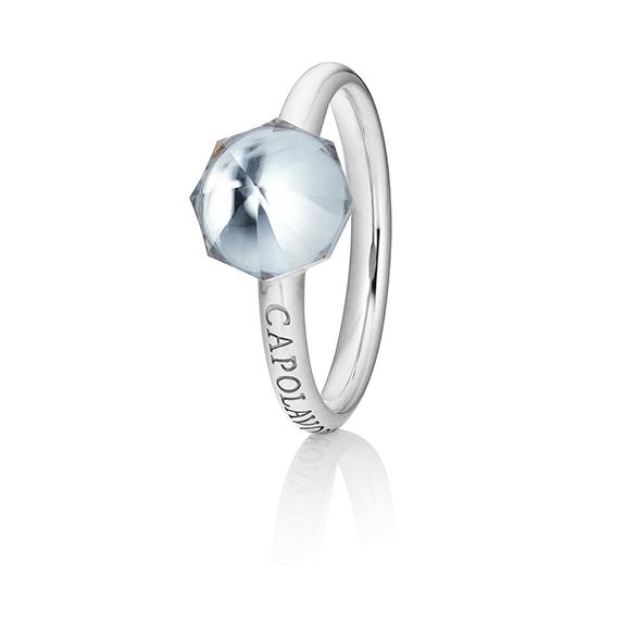 "Ring ""My Sunshine"" 750WG, Bergkristall Cabochon facettiert  8.90 x 8.90mm ca. 2.50ct, 1 Diamant Brillant-Schliff 0.004ct TW/vs1"