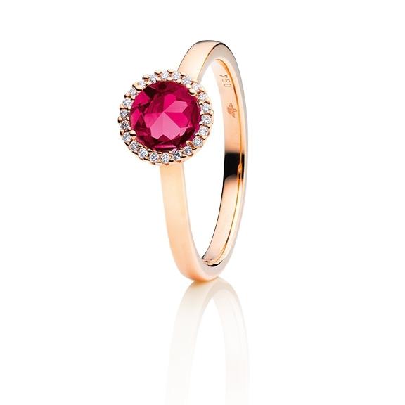 "Ring ""Espressivo"" 750RG, Rhodolith facettiert Ø 6.0 mm ca. 1.02ct, 22 Diamanten Brillant-Schliff 0.06ct TW/si1"