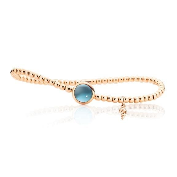 "Armband ""Velluto"" 750RG, Topas sky blue Cabochon Ø 8.0 mm ca. 3.00ct, Innenumfang 17.0 cm"