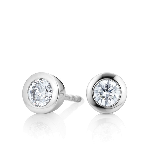 "Ohrstecker ""Diamante in Amore"" 750WG Zargenfassung, 2 Diamanten Brillant-Schliff 0.75ct TW/vs1"