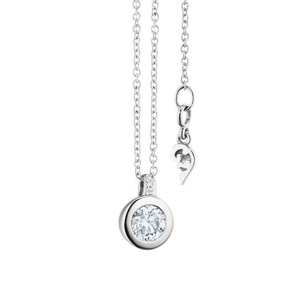 "Collier ""Diamante in Amore"" 750WG Zargenfassung, Brillantschlaufe, 1 Diamant Brillant-Schliff 0.30ct TW/vs1, 4 Diamanten Brillant-Schliff 0.01ct TW/vs1, Länge 45.0 cm, Zwischenöse bei 42.0 cm"