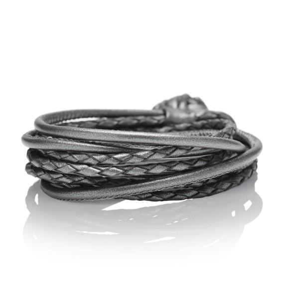 Armband Kalbsleder anthrazit 4-reihig, Ø 3.0 mm, 42.0 cm