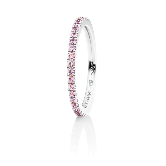 "Memoirering ""Diamante in Amore"" 750WG, 21 Saphir pink pastel light facettiert ca. 0.30ct, 1 Diamant Brillant-Schliff 0.005ct TW/vs1"