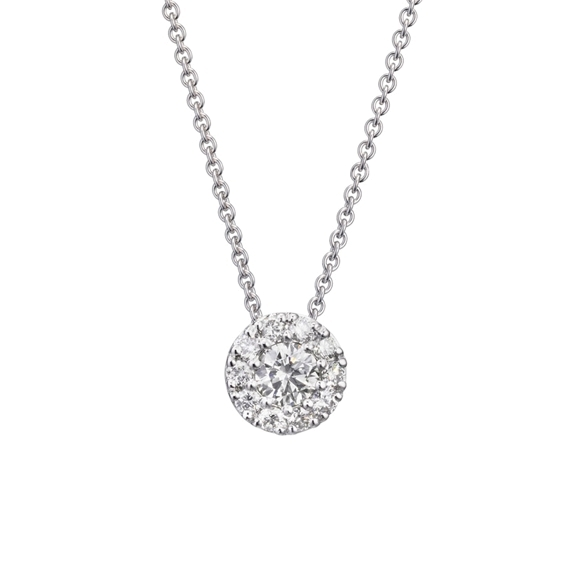 "Anhänger ""Brillantissimo"" 750WG, 1 Diamant Brillant-Schliff 0.25ct TW/vs, 10 Diamanten Brillant-Schliff 0.21ct TW/vs"