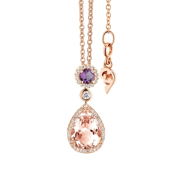 "Collier ""Espressivo"" 750RG Morganit Tropfen 14.0 x 10.0 mm ca. 4.75ct, Amethyst medium facettiert Ø 6.0 mm ca. 0.75ct, 55 Diamanten Brillant-Schliff 0.40ct TW/si, Länge 45.0 cm Zwischenöse bei 42.0 cm"