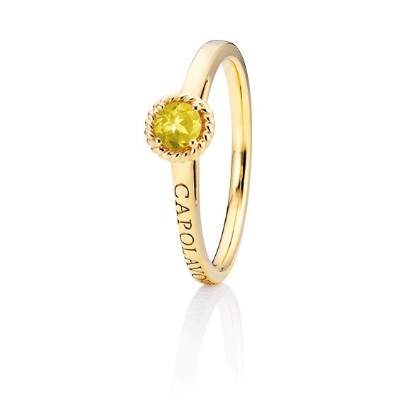 """Ring """"Amore Mio"""" 750GG, 1 Saphir gelb facettiert Ø 4mm ca. 0.24ct, 1 Diamant Brillant-Schliff 0.005ct TW/vs1"""
