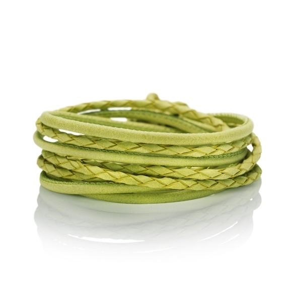 Armband Kalbsleder pistazie 4-reihig, Ø 3.0 mm, 38.0 cm