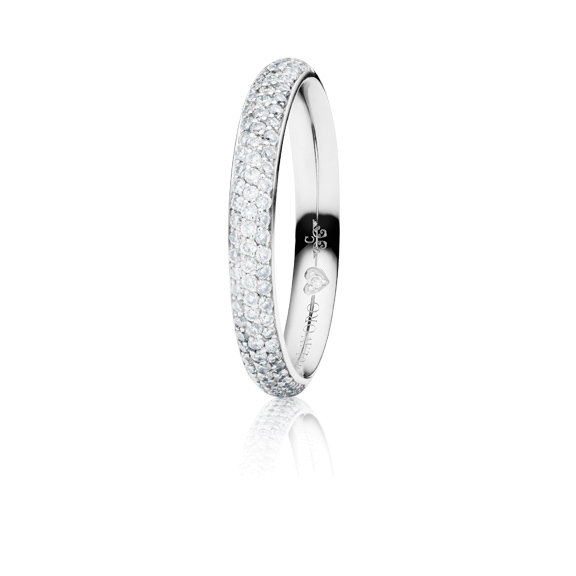 "Ring ""Diamante in Amore"" 750WG Pavé, 76 Diamanten Brillant-Schliff 0.65ct TW/vs1, 1 Diamant Brillant-Schliff 0.005ct TW/vs1"