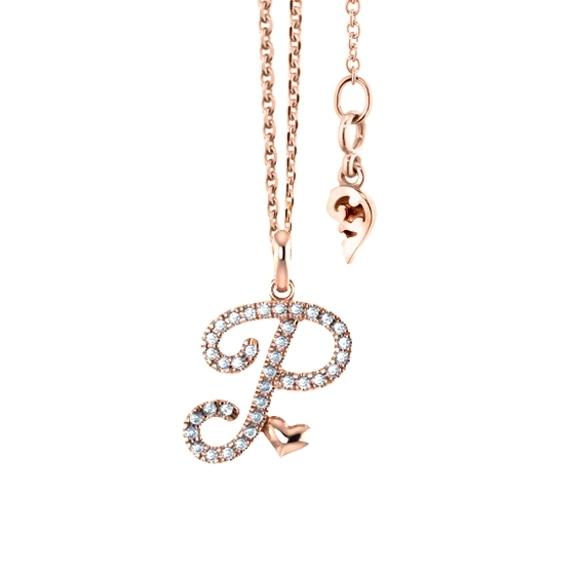 """Anhänger """"Poesia"""" 750RG, Buchstabe """"P"""", 36 Diamanten Brillant-Schliff 0.14ct TW/vs"""