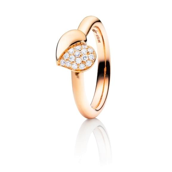 "Ring ""Fiori e Cuori"" 750RG, 16 Diamanten Brillant-Schliff 0.18ct TW/vs"