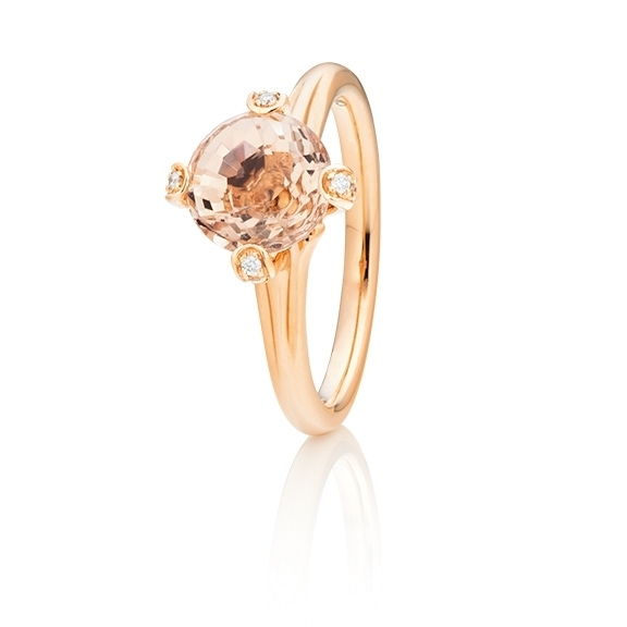 "Ring ""Capriccio"" 750RG, Morganit Ø 8.0 mm ca. 2.00ct, 14 Diamanten Brillant-Schliff 0.07ct TW/vs"
