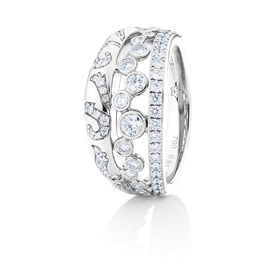 "Ring ""Sérail"" 750WG, 70 Diamanten Brillant-Schliff 0.80ct TW/vs"