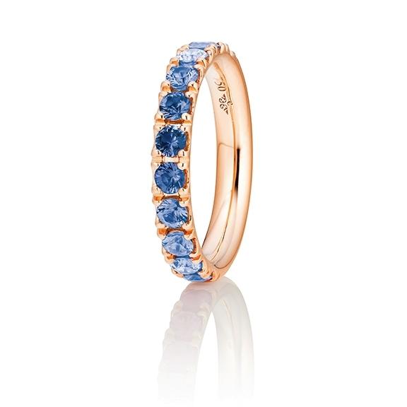 """Ring """"Rainbow"""" 750RG, 11 Saphire blau facettiert ca. 1.50ct"""