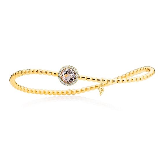 "Armband ""Espressivo"" 750GG, Morganit facettiert 6.0 mm ca. 0.85ct, 22 Diamanten Brillant-Schliff 0.06ct TW/si1, Innenumfang 17.0 cm"